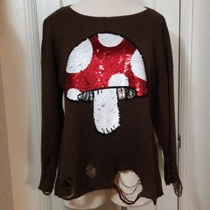 WILDFOX brown sequin mushroom distressed sweater